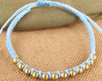 Friendship Light Blue Wax Cord Snake Knot Bracelet with Brass Bead