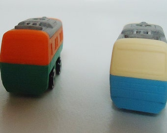 Two train carriages.Japanese Erasers. Perfect for your collection.80s