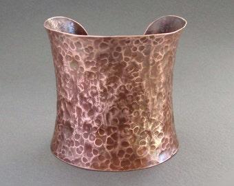 Wide Copper Cuff Bracelet Indie Artisan Handmade Rustic Earthy Modern Bohemian Boho Chic Hippie Metal Jewelry
