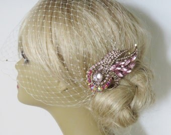 Birdcage Veil  and a Pink Bridal Hair Comb (2 Items),Headpieces,Bridal Comb ,Wedding comb,bridal headpieces,hair accessories