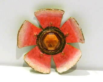 Enid Collins Paper Mache Flower Pin Vintage Pink Papier Mache Brooch Enid Collins of Texas Decoupage Jewelry 1960s Signed EC