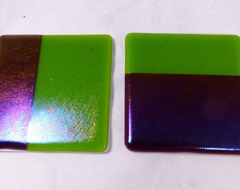 Fused Glass Coasters with Iridescent Fuchsia Pink and spring green - set of 2