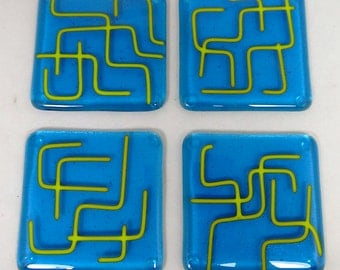 Fused Glass Coasters with Turquoise and Lime Green zany design - set of 4