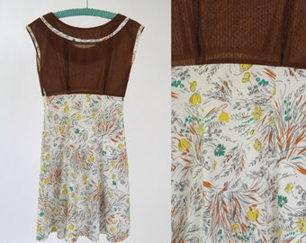Vintage 1960s Brown Scoopneck Dress with Floral A-Line Skirt & Empire Waist