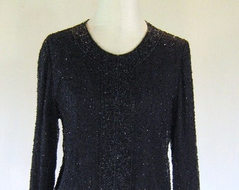 Black Beaded Cardigan Jacket Top