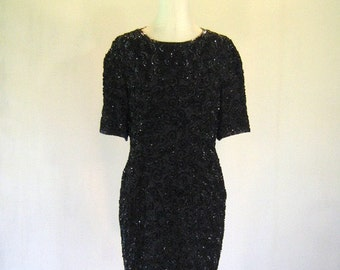 Black Swirly Niteline Sequin Silk Dress Glam