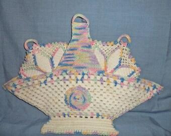 Vintage Hand Crocheted Pastel Basket Pot Holder Set