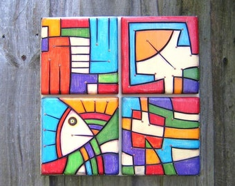 Block Party, Original Wood Sculpture, Wall Sculpture, Wood Carving, Abstract Sculpture, Painting on Wood, Wall Decor, by Fig Jam Studio