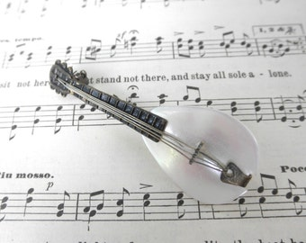 Vintage Lute Brooch Mother of Pearl Musical Instrument 60s Mandolin MOP Brass Music Lover Folk Mandolin String Instrument Jackpot Jen