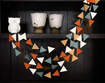 Triangle Garland, Modern Garland, Geometric Garland, Paper Garland, Terracotta and Blue Triangle Garland