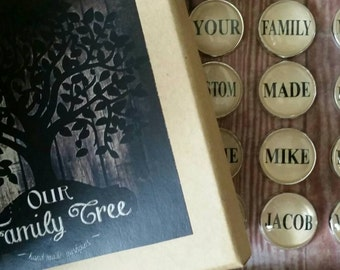 Personalized push pins family tree