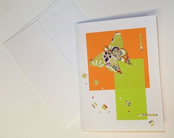 Greeting Card-Birthday-Thank You-Wish Card-Butterfly Origami Card- 折り紙カードは額装します