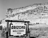 "Vintage ""Arizona Welcomes You"" highway billboard. 1950s. Print from an original negative. Mid-century road trip theme decor."