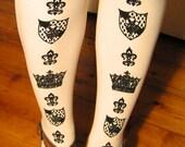 M Tall Crown Printed Tights Medium Tall Black on Ivory Cream 70 Den Womens Dolly Kei Victorian Lolita