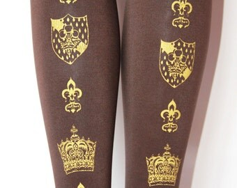 S M Crown Print Tights Small Medium Gold on Chocolate Brown Printed Womens Dolly Kei Hime Lolita Winter Tights