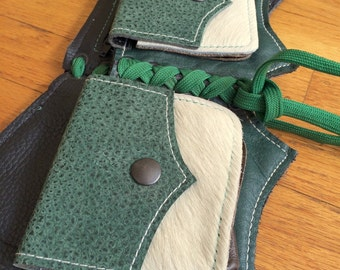 Ready to Ship BAT Pocket Belt white fur forest green Burning Man Utility Festival Steampunk Costume cosplay Mad Max leather SMALL