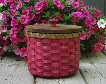 Toilet Paper Basket-Basket with a Lid-Painted Basket-Storage Basket-Canister Basket-Primitive Style