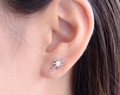 Falling Star Ear Climbers, Sterling Silver, Edgy Pin Earrings, Striking Star Ear Wrap, Minimalistic, Modern Jewelry, Gift, ECF015