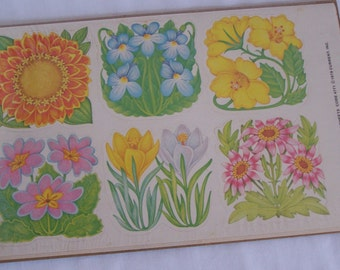 4 Sheets Vintage CURRENT INC. 1980 Easter Spring Flowers Stickers