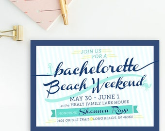 Nautical Anchor, Beach Anchor Bachelorette Weekend Party, Bridal Shower Invitations - Turquoise, Navy, & Mint