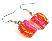 Dichroic Earrings Dangle - Orange Stained Glass Green Squiggle Stripes Magenta Pink Polka Dots Fused Glass Surgical Steel French Ear Wire