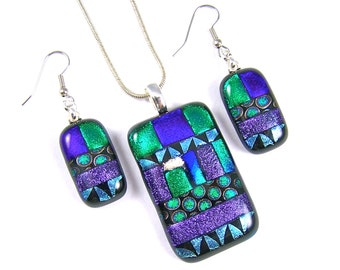 Dichroic Glass Cremation Pet Ashes Jewelry Pendant Earrings Set - Purple Blue Green Patterned Patchwork Memorial - Custom Made Remembrance