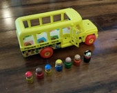 Vintage Fisher Price School Bus with Wooden Kids 1965