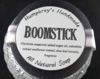 BOOMSTICK Shave Soap, Men's Beard Wash, Round Soap Puck, Barber Shop Type, Glycerin Base, Very Sexy Scent, Bergamot mint sage musk wood