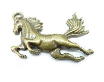 6pcs 30x43mm Antique Bronze  Lovely Huge Horse  Charm Pendant C6206
