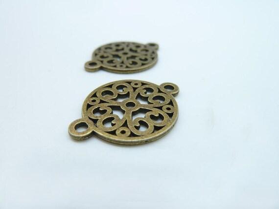 25pcs 18x24mm Antique  Bronze Filigree  Flower Base Setting Charm Pendants c2645