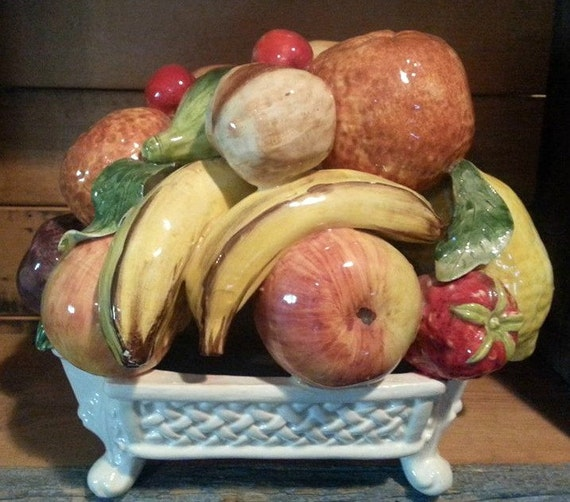 Bassano Italian Ceramic Fruit Basket Centerpiece Circa