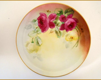"Antique Haviland Limoges 9"" Plate Hand Painted Roses Pickard Chicago Artist MICHE  - June SALE"