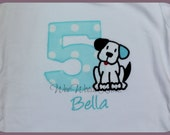 Puppy Birthday T Shirt or Bib Personalized Girls Boys Aqua Turquoise Applique Dog Bodysuit  1st 2nd 3rd