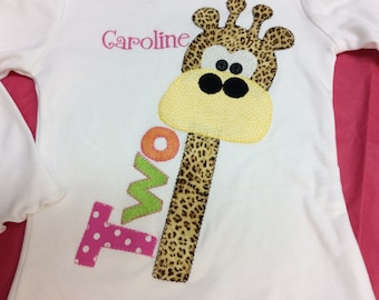 Girls Personalized  Birthday Giraffe T Shirt  Bodysuit Boys Appliqued Personalized Jungle Zoo First 2nd 3rd