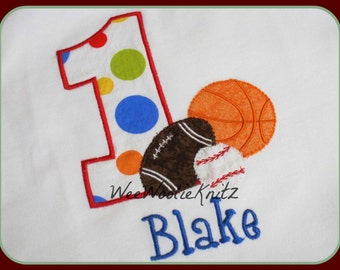Sports Birthday T Shirt or Bib Personalized Primary Colors Boys Embroidered Applique Any Number 1st 2nd 3rd 4th 5th