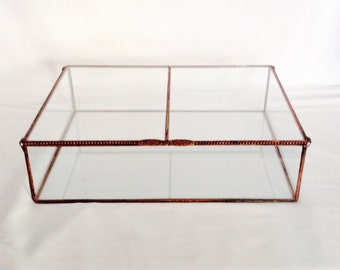 """9"""" x 12"""" x 3"""" Tall, Clear Glass Display Box, Display Case, Glass Jewelry Box, Glass Keepsake Box, Display Box, Glass Box,"""
