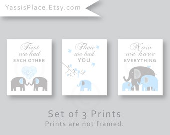 First We Had Each Other, Elephant Nursery Decor, Baby Boy Nursery Wall Art Print in Light Blue and Gray, Kid Wall Art by YassisPlace