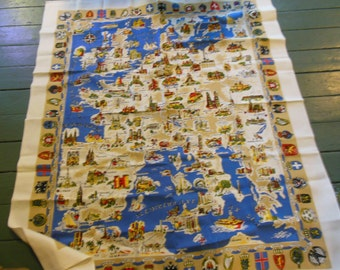 Europe Map Tablecloth,  Labeled New & Unused By Kunstlerhanddruck In Germany