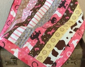 Modern Cowgirl Quilt Pink Lovey Security Blanket American Girl Doll Blanket Photo Prop 18X22 Ready to Ship