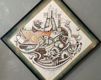 Original Surreal Pen and Ink Philadelphia Drawing