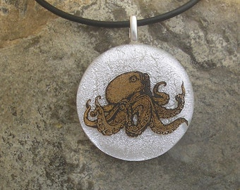 Octopus Pendant Fused Dichroic Glass Octopus Jewelry