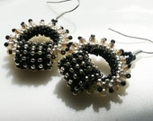 RESERVED Romantic Boho Chic circle Hoops earring tiny black silver beige seed beads Toho finished with sterling silver hooks.
