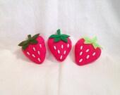 Cute Pink Strawberry Plush Pin