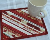 Red coasters, upcycled cotton selvage, red Mini placemats, quilted mug rug, eco friendly, coworker gift