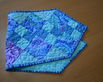 Patchwork Quilt  Table Runner, Turquoise Blue Purple Kitchen Decor