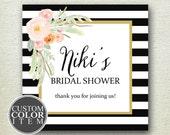 Floral Bridal Shower Favor Label // Striped Bridal Shower Label // Personalized Label // Favor Box Label //Bridal Shower Label//Custom Color