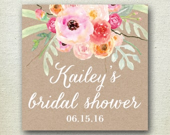 Bouquet Bridal Shower Label // Floral Favor Label // Bridal Shower Favor Label// Personalized Label //Favor Box Label // Bridal Shower Label