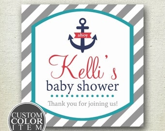 Nautical Labels // Nautical Baby Shower Labels // Nautical Favor Labels // Nautical Birthday Party Labels // Anchor Labels