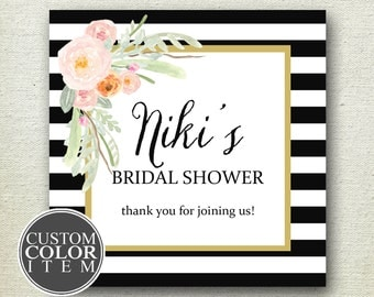 Floral Bridal Shower Favor Label // Striped Bridal Shower Label // Personalized Label // Favor Box Label //Bridal Shower Label//Custom Color