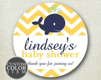 Whale Baby Shower Favor Label // Whale Favor Label // Personalized Label // Favor Box Label // Round Whale Label // Round Favor Label